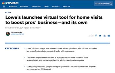 Lowe's launches virtual tool for home visits to boost pros' business–and its own
