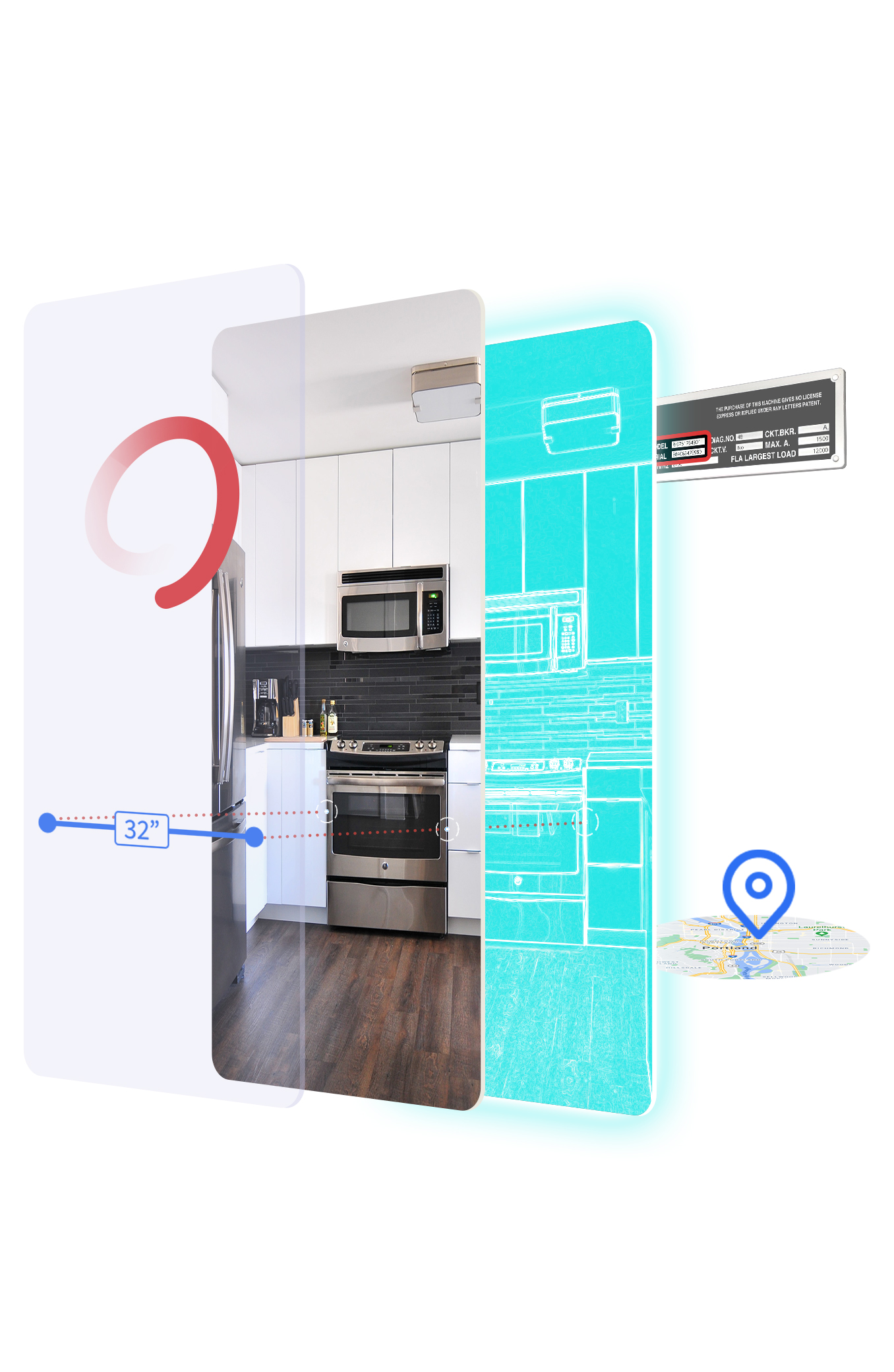 Contextual 3D modeling overlaying a kitchen on a phone screen.