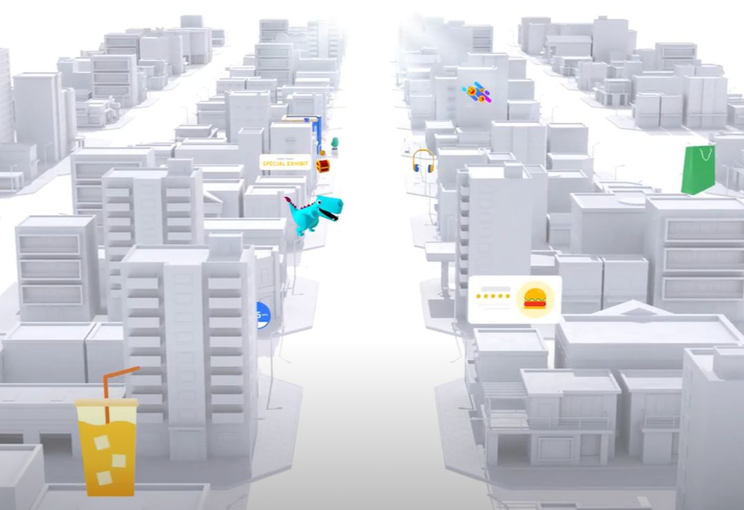 A white animated cityscape with AR overlay
